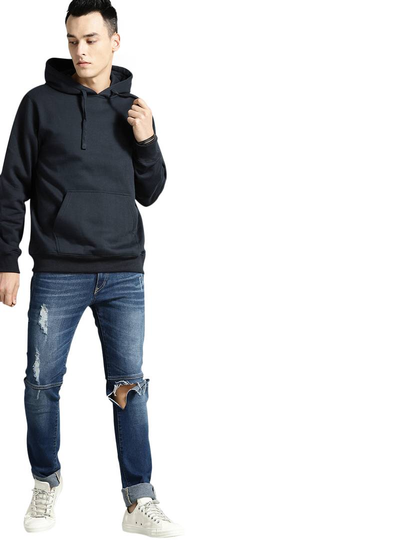 Stylish Cotton Solid Long Sleeves Hooded Sweatshirt For Mens