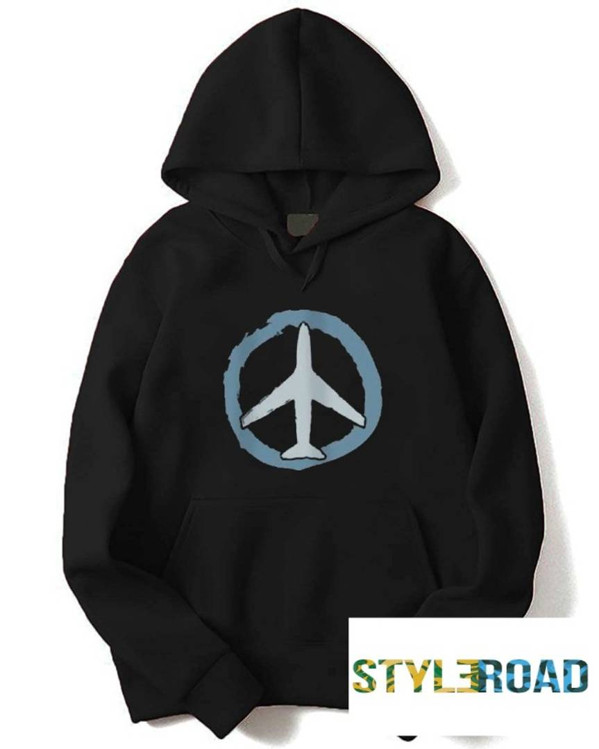 Stylish Black Printed Fleece Hooded Sweatshirt For Men