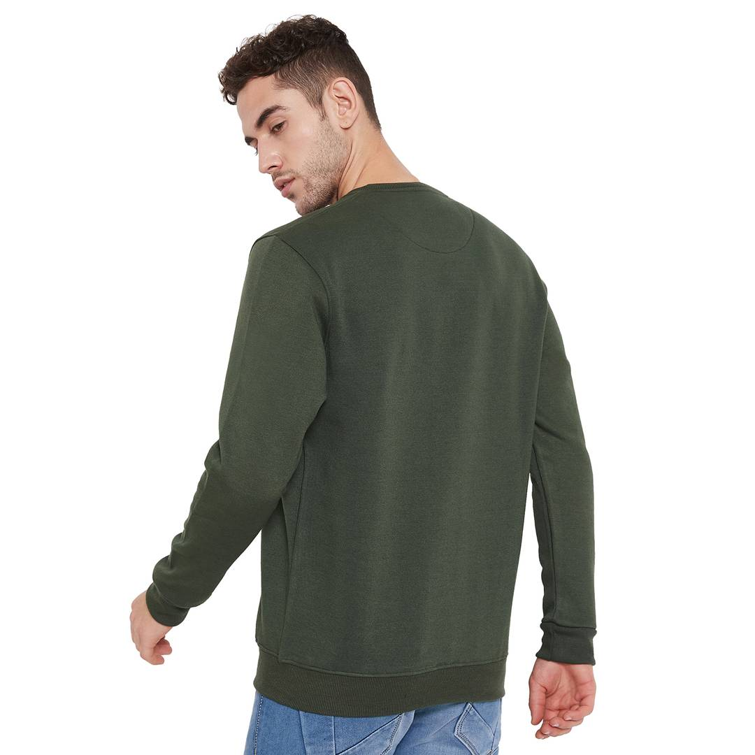 Men's Olive Polycotton Printed Long Sleeves Sweatshirts