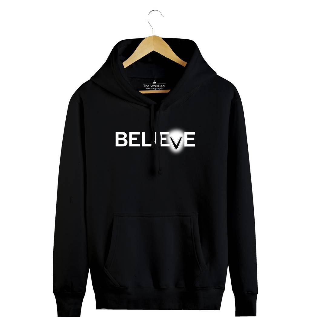 Men's Black Cotton Printed Long Sleeves Regular Hoodies