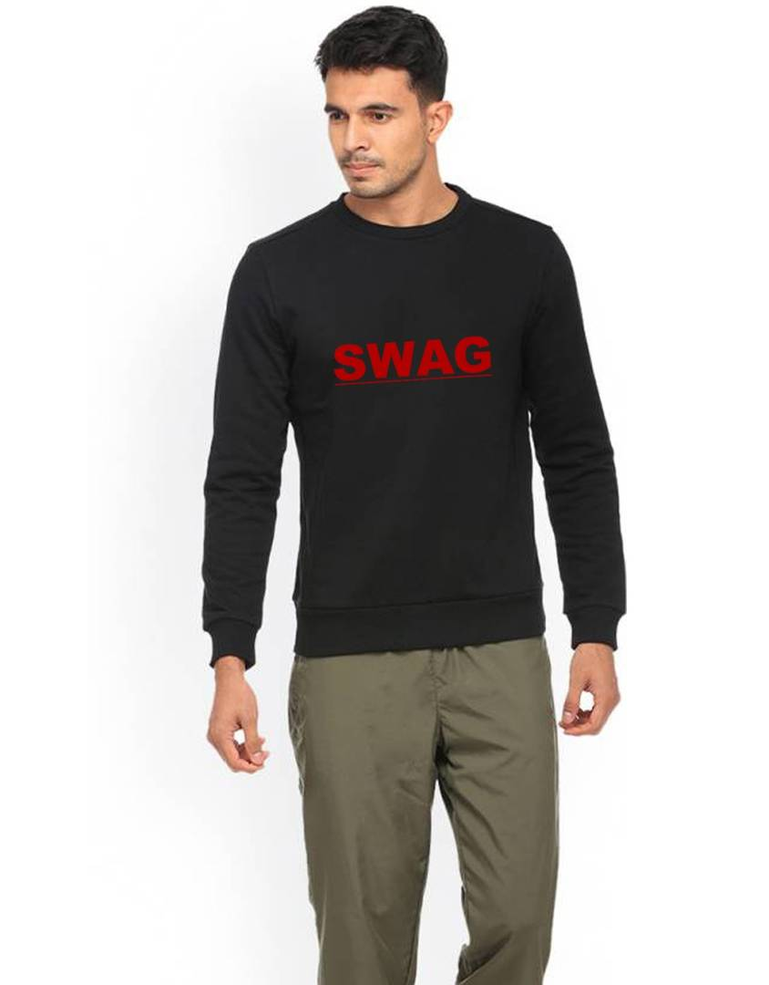 Men's Printed Regular Long Sleeves Black Fleece Sweatshirts