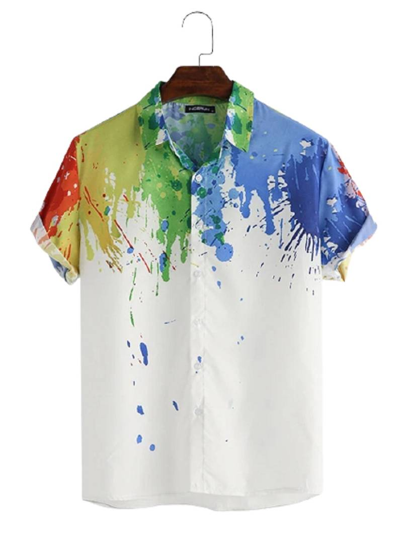 Stylish Cotton Multicoloured Digital Printed Short Sleeves Casual Shirt For Men