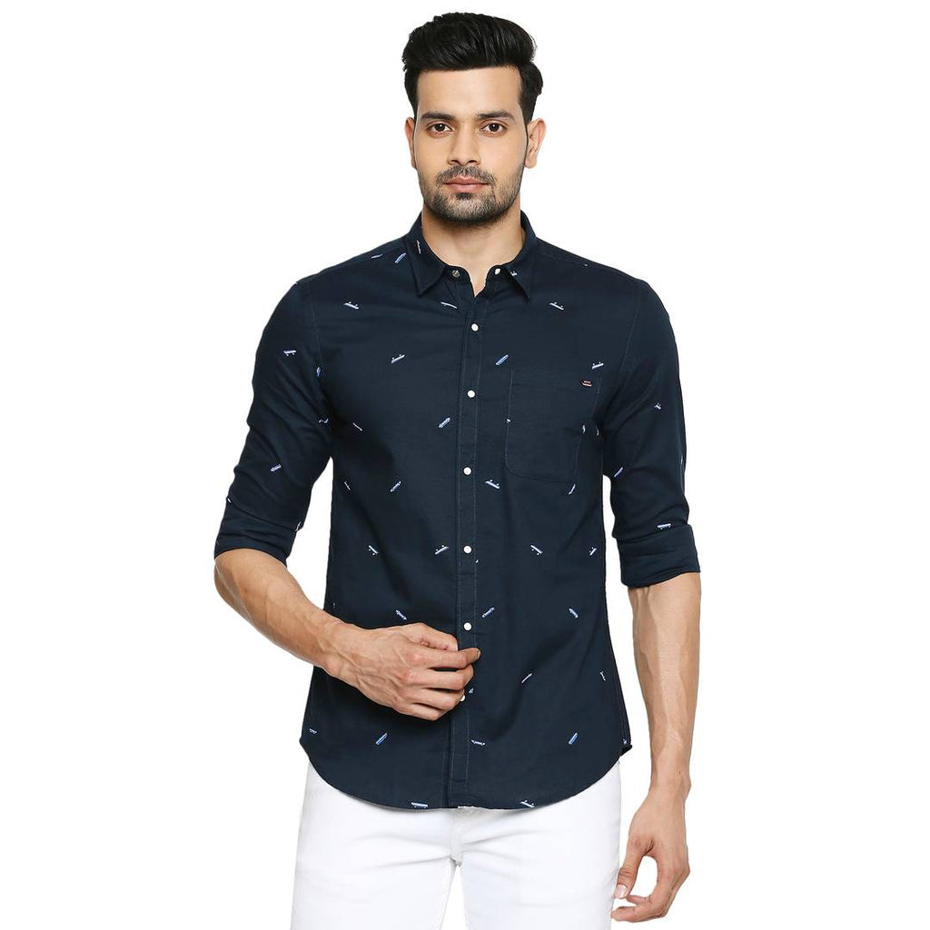 Stunning Navy Blue Printed Cotton Slim Fit Casual Shirt For Men