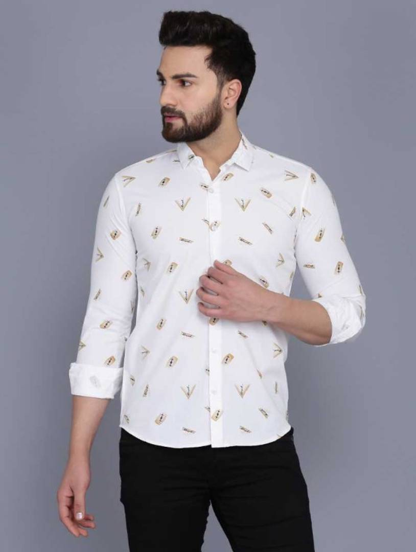 Stylish White Polycotton Printed Long Sleeves Casual Shirts For Men