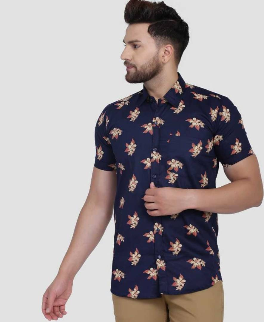Stunning Navy Blue Polycotton Printed Casual Shirts For Men