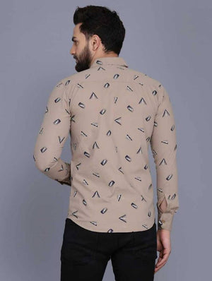 Stylish Khaki Polycotton Printed Long Sleeves Casual Shirts For Men