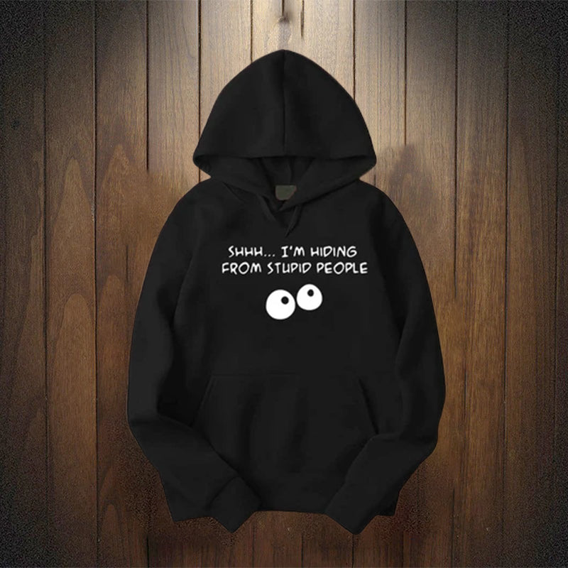 Shhhh Black Cotton Fleece Printed Hoodie