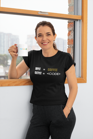 INPUT COFFEE OUTPUT CODE BLACK T-SHIRT FOR WOMEN