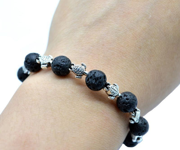 Lava Stone with Turtle Charms Aromatherapy Essential Oil Diffusing Bracelet