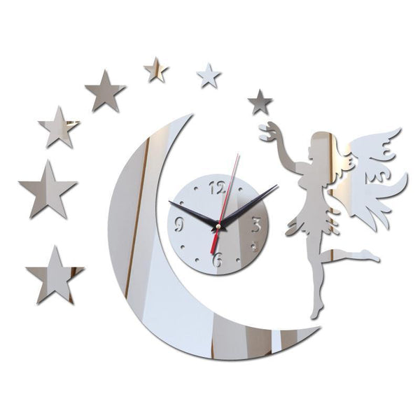 Wall  Clock Acrylic Mirror - Angel Design
