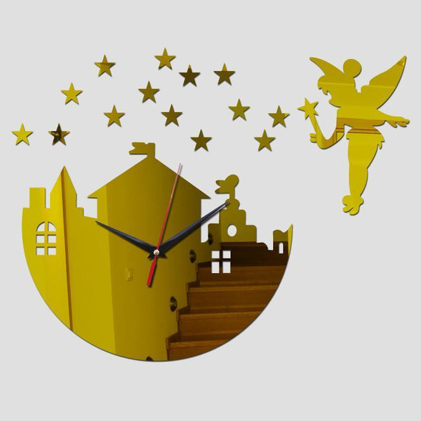 Wall Clock Clock mirror Quartz for Kids. Fairy and Stars design