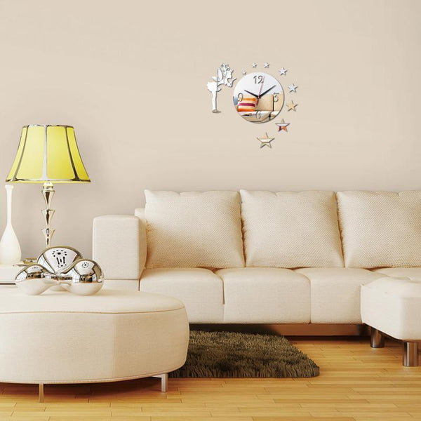 Wall Clock Acrylic Quartz for Kids - Star and Fairy design