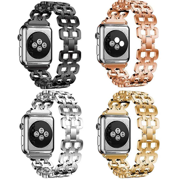 Stainless Steel Strap Fashion Creative Patten Watchband Link buckle Octagon bracelet band For Apple watch 38/42mm Series 1/2/3