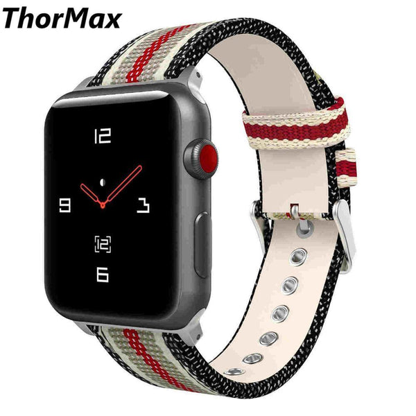 Sport Leisure Watchband Nylon with Leather Strap for apple watch Series1/2/3 Woven Oxford Bracelet 38/42mm thormax