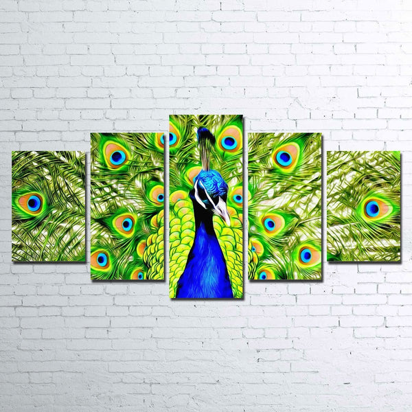 Peacock 5 Piece Canvas Set