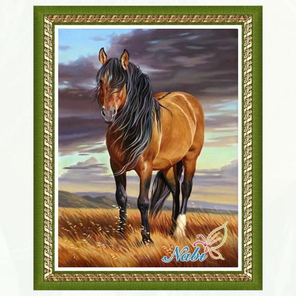 Brown Horse Crafts 3D DIY - Rhinestone Embroidery Cross Stitch  Canvas