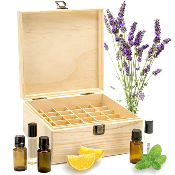 Essential Oil Wooden Box, Holds 25 Bottles & Roller Balls