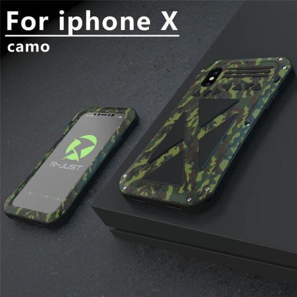 917-Luxury 3D Glitter Hard Aluminum+Soft Silicone Armor Case For iPhone X