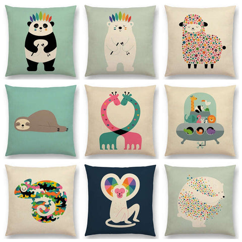Cute Cartoon Animals Interesting Deer Panda Sheep Bulldog Chameleon Sloth Panda Elk Colourful Cushion Cover Sofa Pillow Case