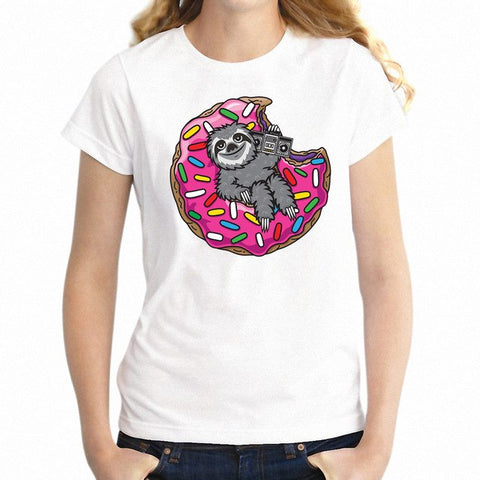 Women's T Shirt Lazy Sloth and Donut
