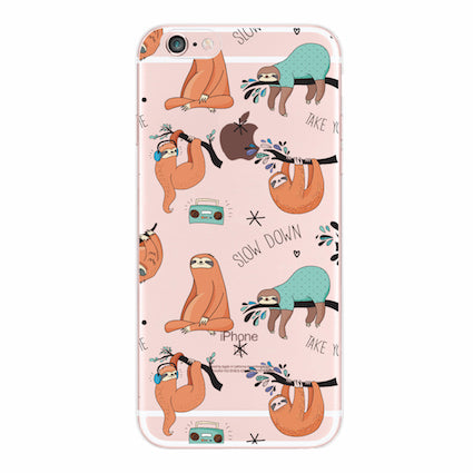 Sloth Soft Silicone Phone Case For iPhone  6S 7Plus 7 8 8Plus X XS Max Samsung Galaxy