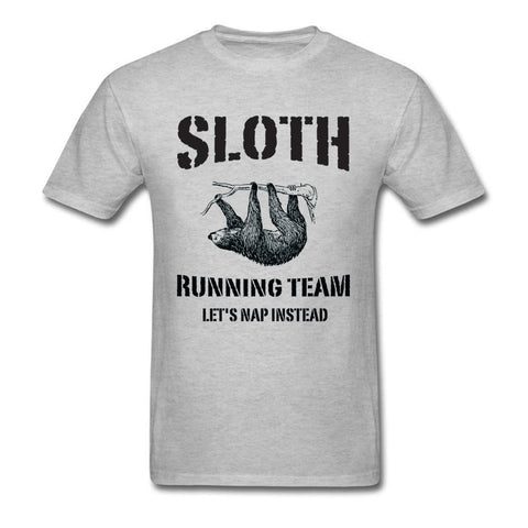 Funny T-shirt Sloth Runner Team Men T Shirt Lets Nap Instead Letter Tshirt Animal Sloth Tees Grey Tops Cotton Adult Clothes XS