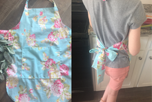 Child Size Peach Floral Apron with Personalization Option