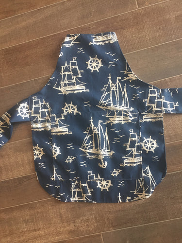 Navy Nautical Toddler Baking Apron with Personalization option