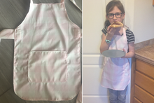 Child Size Pink Gingham Check Apron with Personalization Option