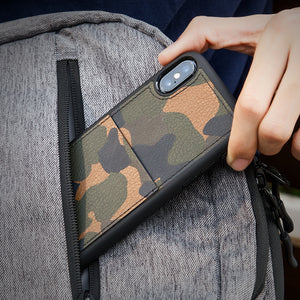 KASOworkshops iPhone X Wallet Case Credit Card Slot Holder Camo