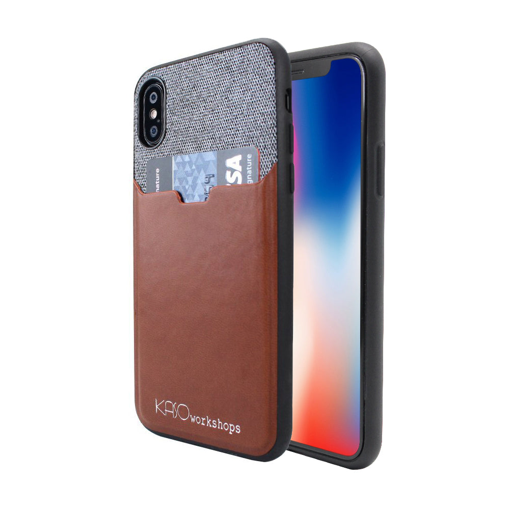 iPhone X Fabric Slim Fit Leather Card Holder Case DarkGray