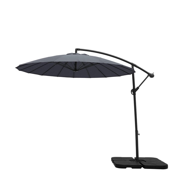 2.7m Cantilever Parasol with 18 Ribs in Grey