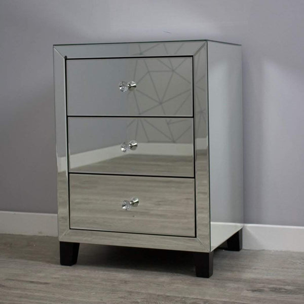 Simply Mirror 3 Drawer Bedside