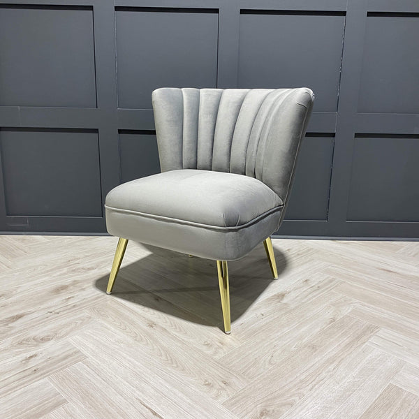 Velvet Occasional Chair in Grey