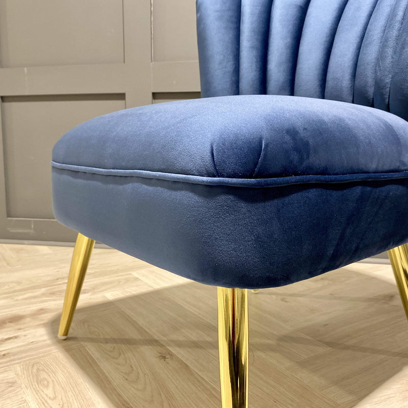 Velvet Occasional Chair in Blue