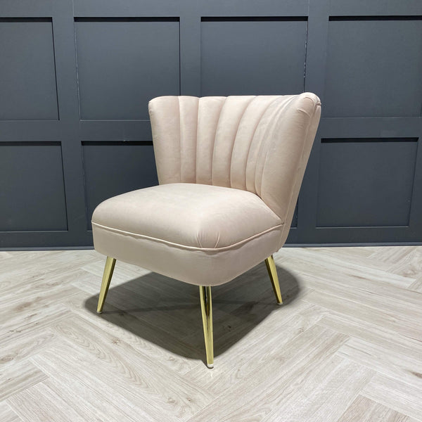 Velvet Occasional Chair in Blush Pink