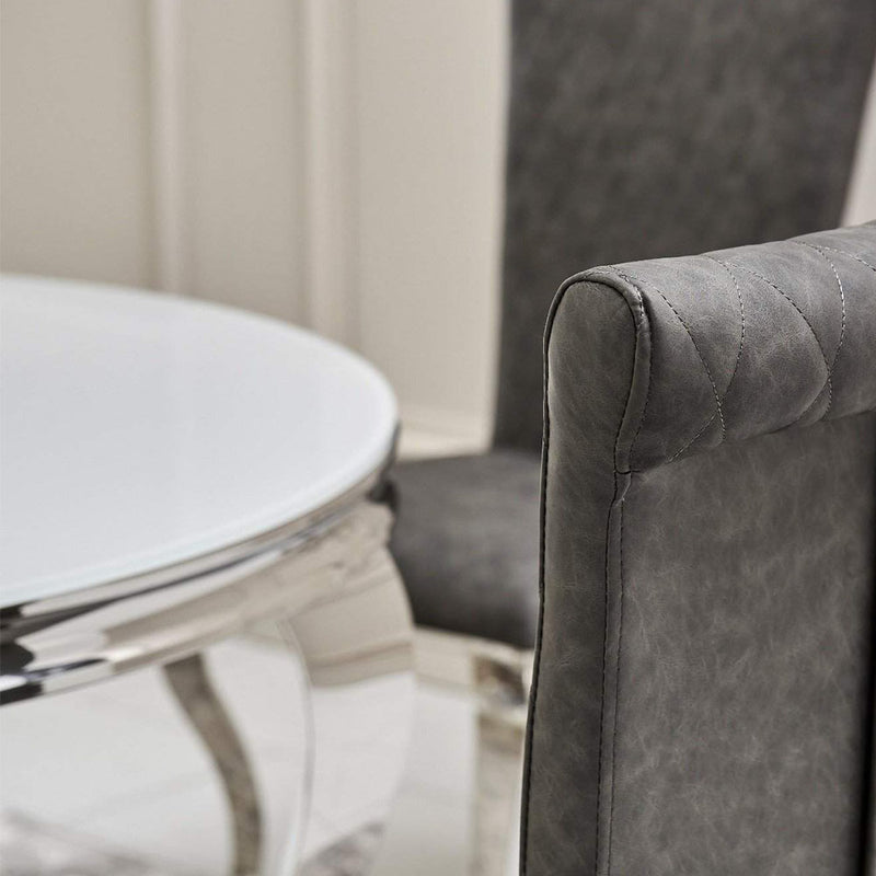 Loui Grey Glass Round Dining Set with 4 Dark Grey Nicole Chairs