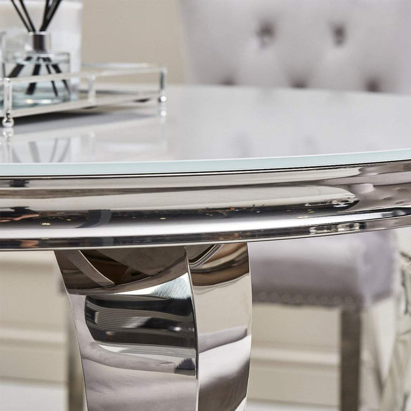 Loui Grey Glass Round Dining Set with 4 Light Grey Megan Chairs