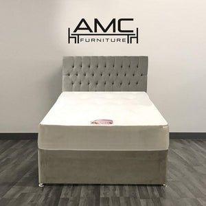 Chesterfield Divan Bed in Naples Silver with Tencel Memory Mattress
