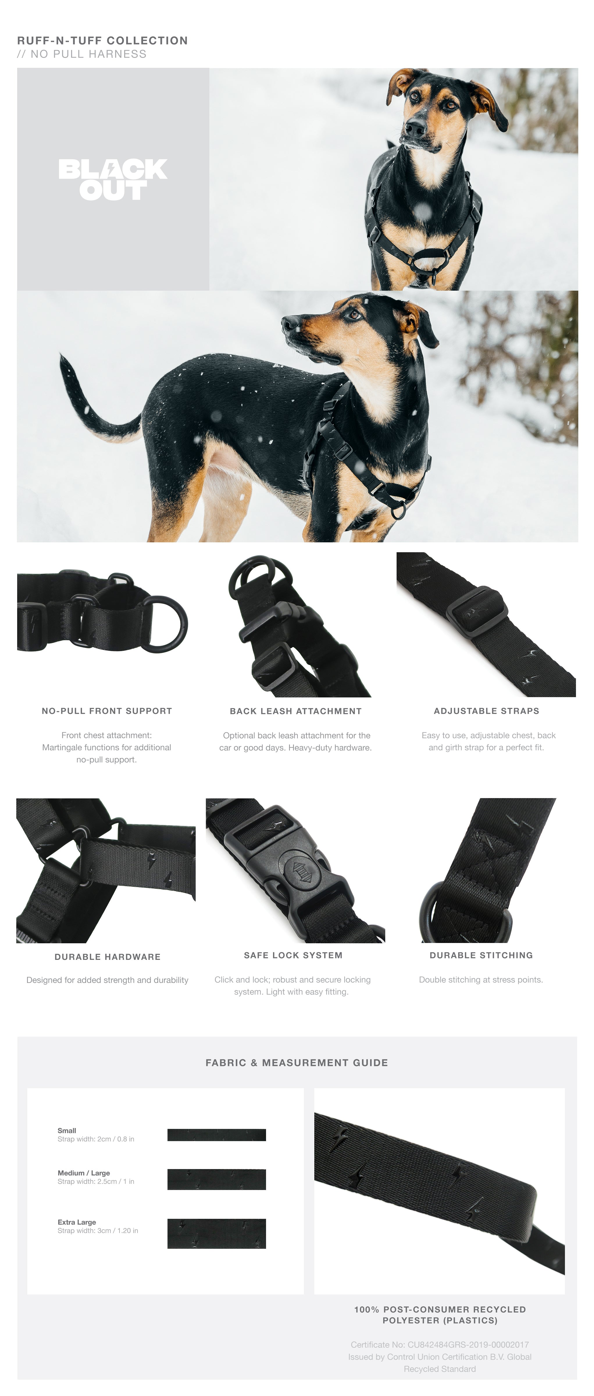 Blackout RNT No-Pull Training Harness with Padded Buddy