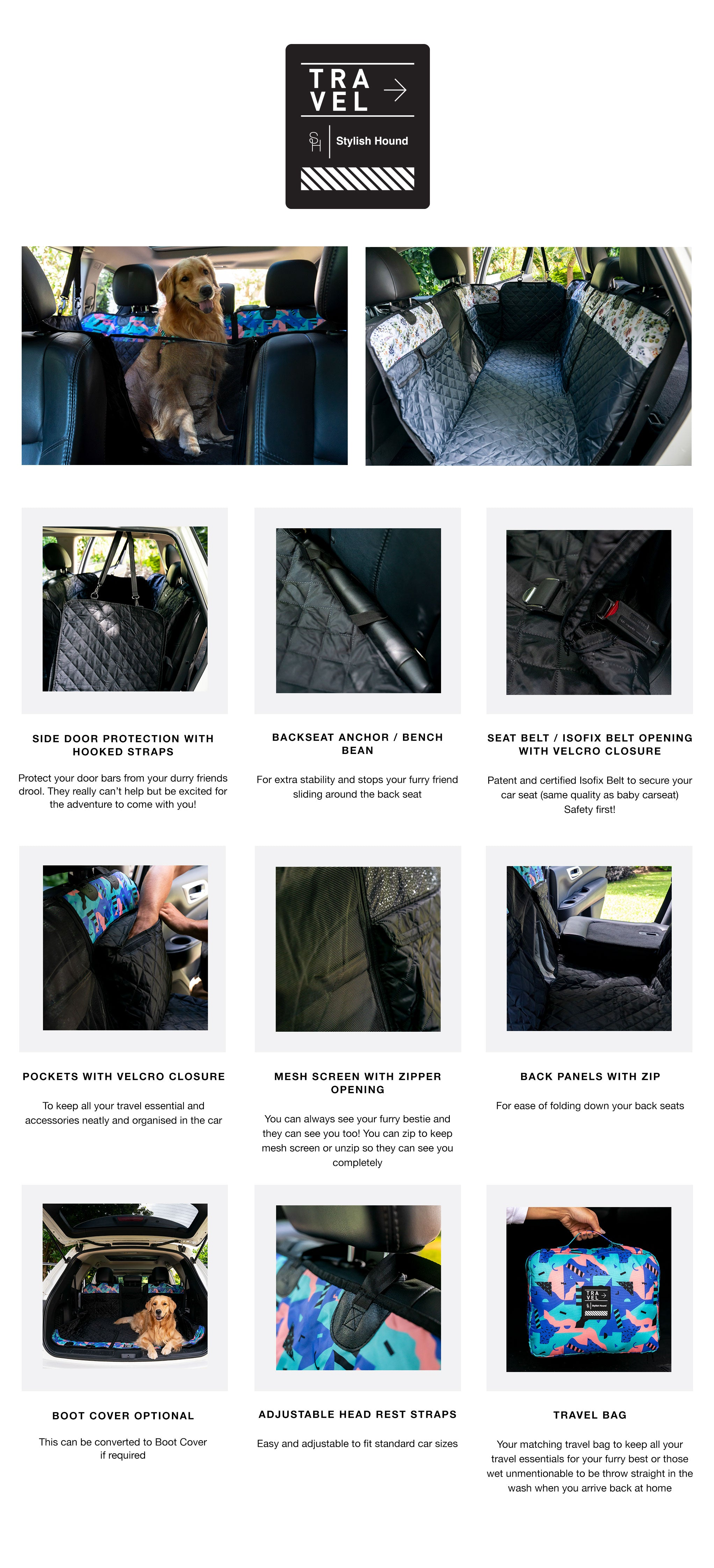 Evergreen Car Seat Cover w Travel Bag