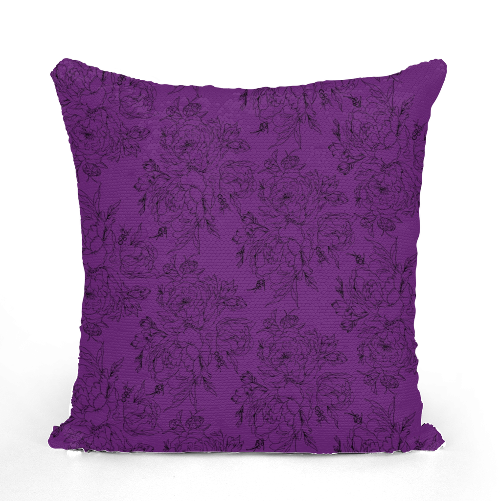 Floral Sequin Cushion Cover