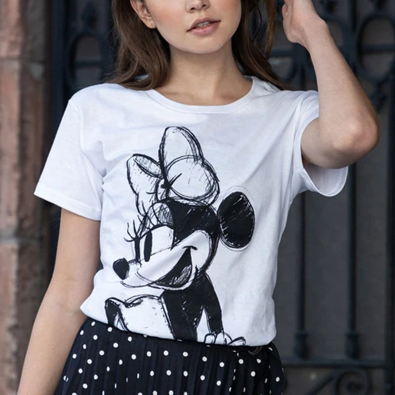Playera Dama Mdl Blanca Minnie Sketch - Epicland  (4592762847345)