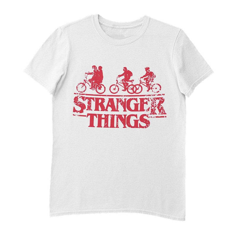 Playera Caballero Exclusiva Blanca Stranger Things Rodada Roja - Epicland  (4606252679281)
