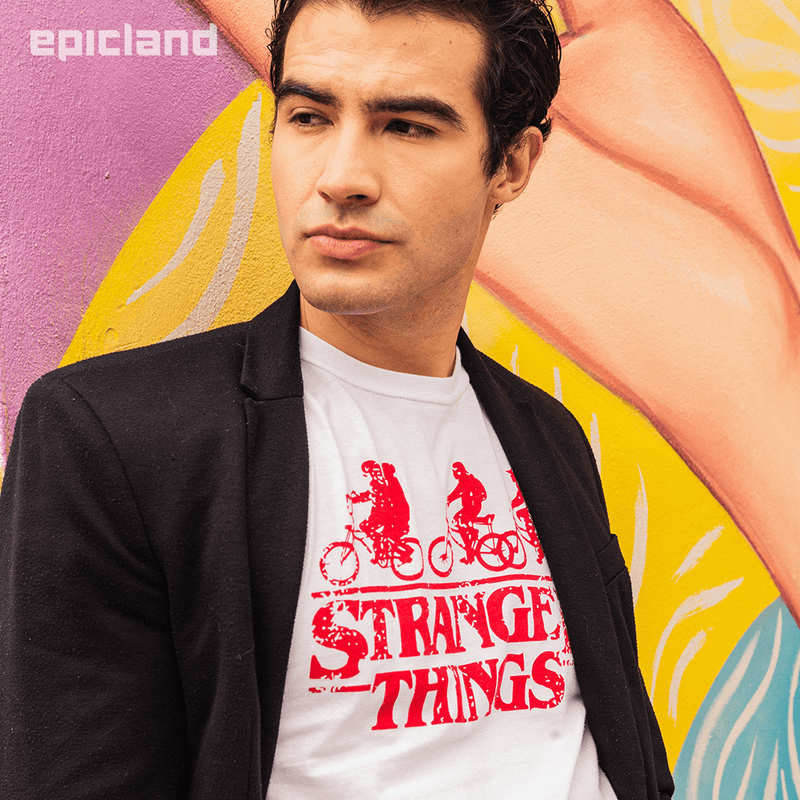 Playera Caballero Exclusiva Blanca Stranger Things Rodada Roja (4606252679281)