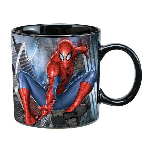 TAZA CERAMICA NEGRA SPIDERMAN  REACCION AL CALOR 20oz - Epicland