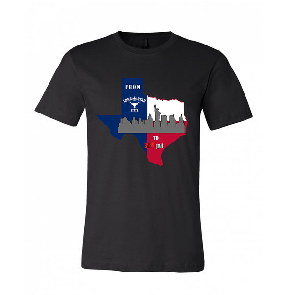 State Map combined Texas and Newyork Texas to Newyork Design for the visitor of Texas Designed T-shirt 100% Cotton