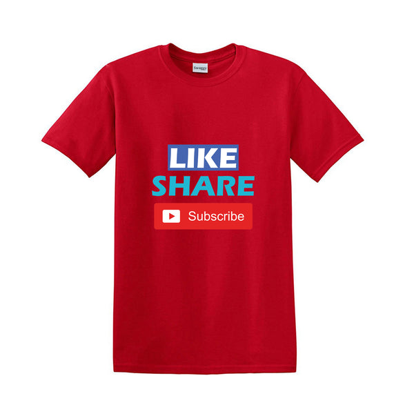 Youtube Channel Marketing Design 100% Cotton Youtuber's Promotion T-Shirt Like, Share and Subscribe Add a YouTube Channel Name Customize it