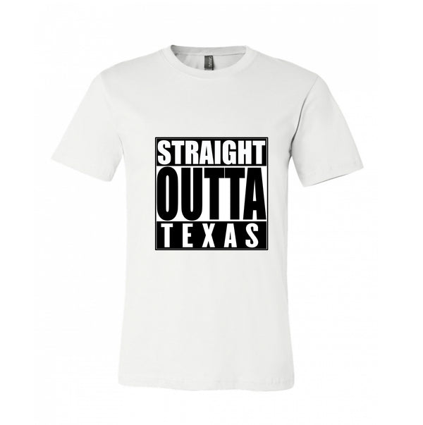 Straight outta Texas , Texas People dedicated design Customize your location T-Shirt 100% Cotton Popular Design