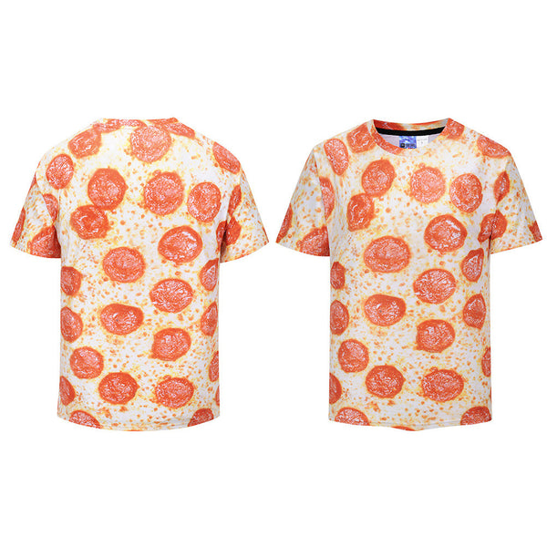 Cool T-shirt 3D T-shirt Print Funny Pizza Short Sleeve Summer Tops Tees Tshirt Fashion Print Shirt
